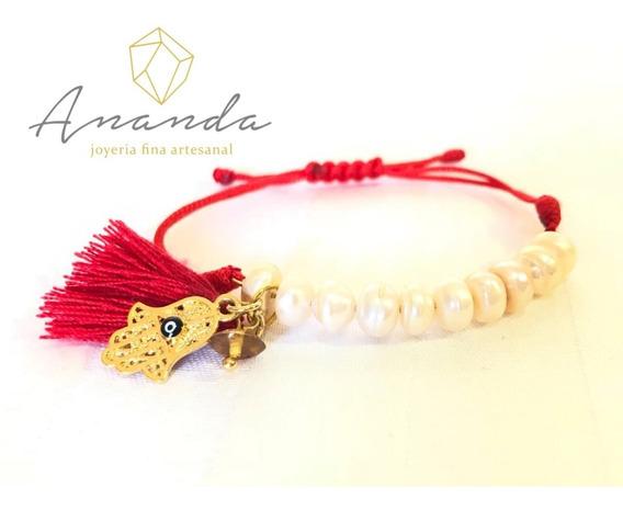 Pulsera De Hilo Rojo Con Perlas De Río
