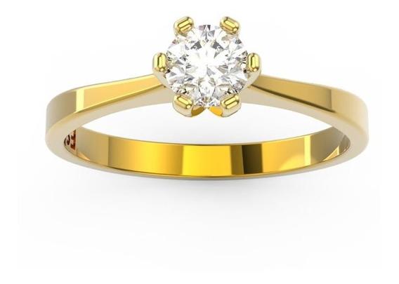 Anel De Noivado Ouro Amarelo E Diamante 30 Pontos - Love 30