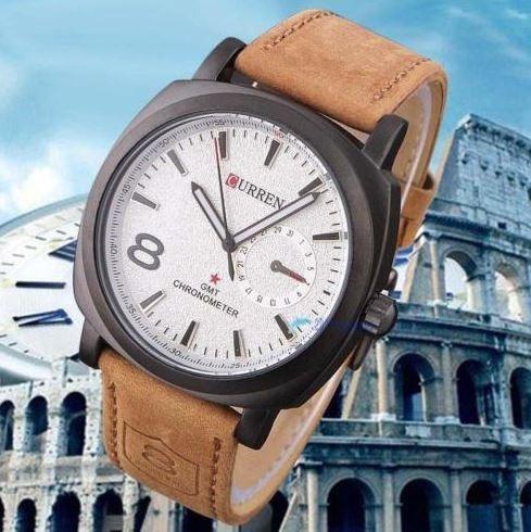 Relógio Curren Luxuoso Modelo 8139 - Pulseira De Couro