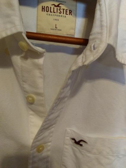 Camisa Social Hollister Importada Branca Flanelada (large)