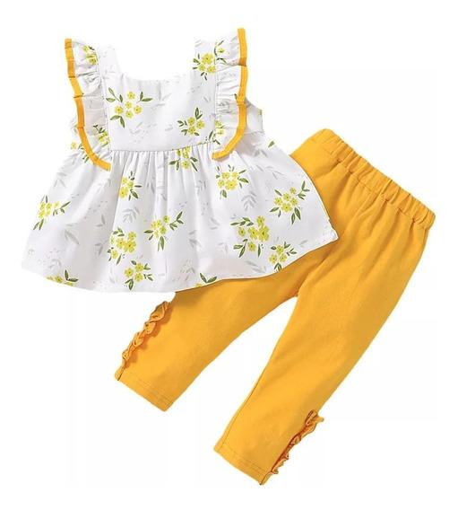 Conjunto De Bebe Niña Blusa Suelta Manga Sisa Y Pantalon