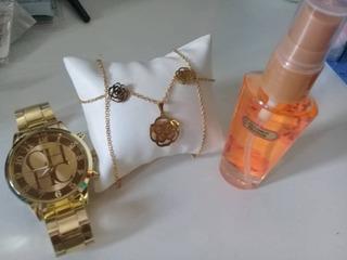 Regalo Para Damas Reloj + Collar Zarcillo Y Perfume