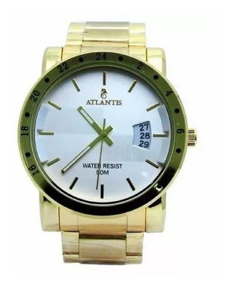 Relógio Masculino Dourado Barato Grande Pesado Social Sport