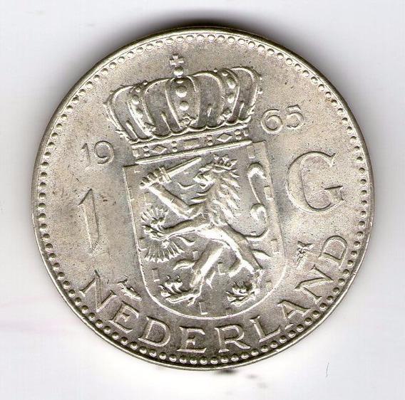 Holanda Moneda De Plata 1965 1 Gulden Km#184 Sc - Argentvs