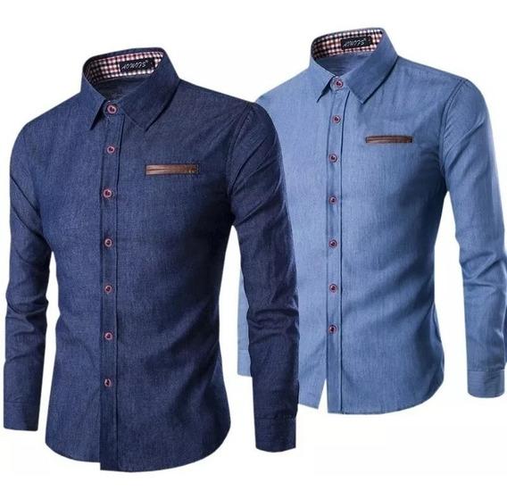 Kit C/ 2 Camisa Masculina Cor Jeans Veste Bem