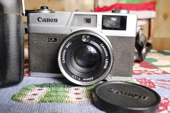 Câmera Antiga Fotográfica Canon Canonet Ql17 Com Case