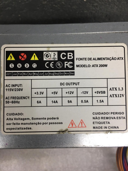 Fonte Sndf1 Model: Atx200w 24pinos Sata Nominal 200w Atx