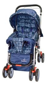 Carrinho De Bebê Mosquiteiro Azul Marinho Reversível + Bolsa
