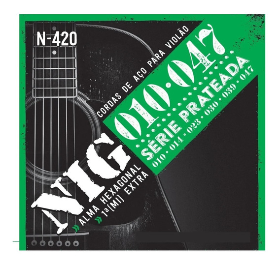 Encordoamento Cordas Nig N420 010 Violão Aço Prateada
