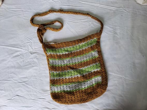 Morral Bandolera Tejido Al Crochet Estilo Hippie Cierre
