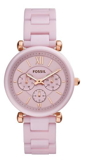 Reloj Dama Fossil Carlie Ce1102 Color Rosa De Cerámica