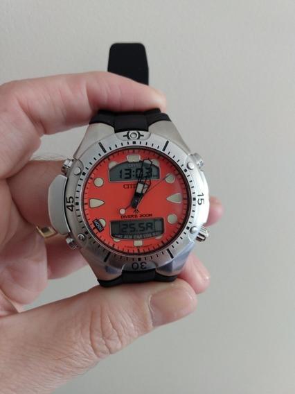 Citizen Jp 1060 Usado 2 Relógios,fundo Amarelo/laranja