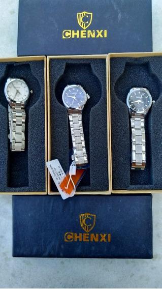 3 Relógios Femininos Inox Com Caixa Top Atacado Revenda