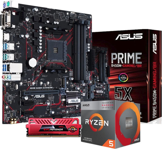 Kit Processador Amd Ryzen 5 3400g Asus B450m Ptz 8gb 2400mhz