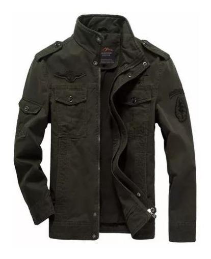 Jaqueta M Casaco Blusa Masculina Estilo Militar Aeronáutica Verde Escura Alta Qualidade