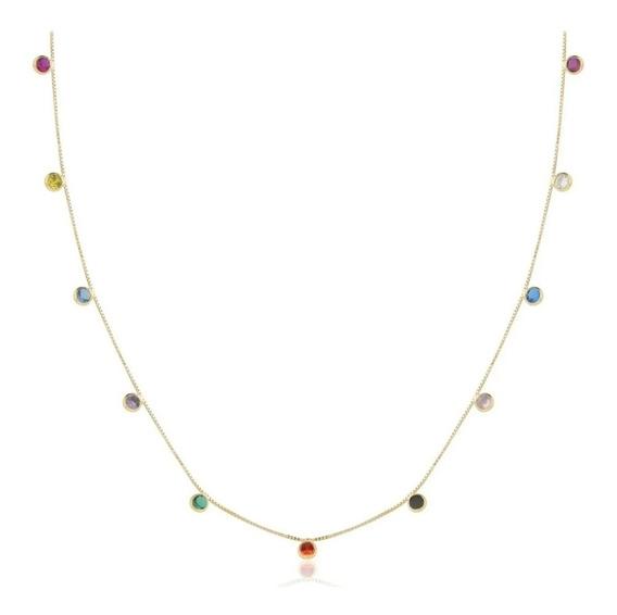 Corrente Feminina Com Pedras Coloridas Ouro 18k-750