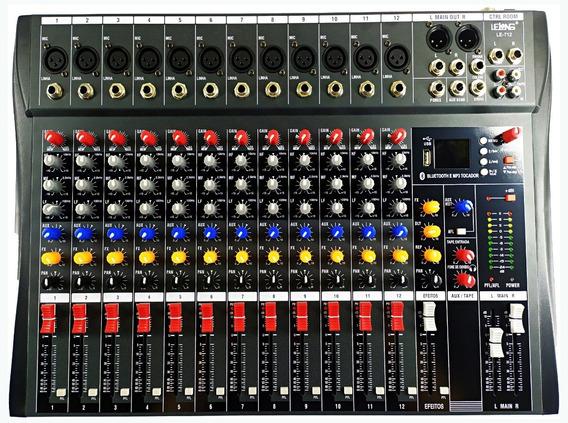 Mesa De Som 12 Canais Bluetooth Usb Mixer Mp3 Visor Le-712