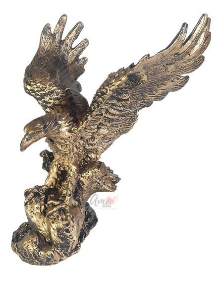 Águia Dourada Estatua Decoração Resina Poder Escultura