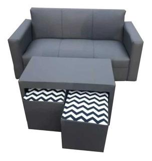 Sillónes Minimalista!!oferta !!sofá 3c Mesa Y 2 Puff