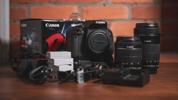 Canon T5i + Grip + 18-55mm Stm + 55-250mm Stm + 4 Baterias