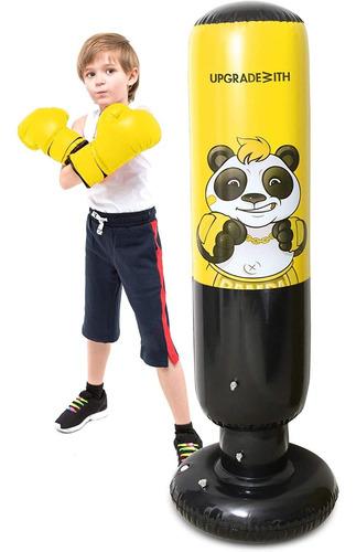 Saco de Boxeo Inflable de Ejercicio f/ísico Engrosado Columna de Boxeo Inflable Independiente para Adultos ni/ños Ganmaov Saco de Boxeo de Boxeo Independiente