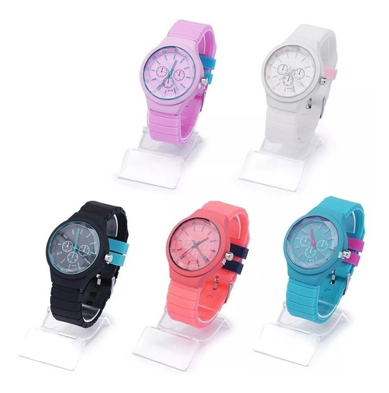 Kit Com 5 Relógio Feminino Silicone Barato Lote Borracha Atacado P/ Revenda Top Modelos Novos Re-02