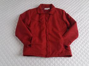 Jaqueta Vermelha Inverno Forrada Com Zíper Feminina Seminova