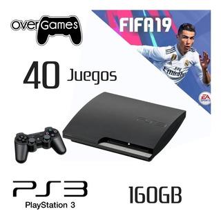Playstation 3 Slim 160 Gb + 40 Juegos 10/10 + Fifa 19