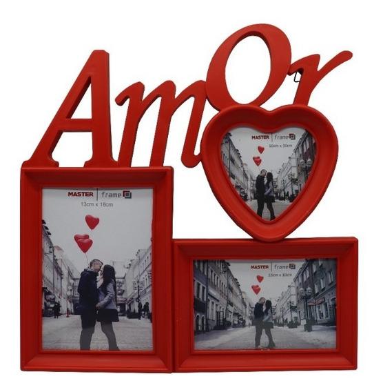 Porta Retrato De Plastico 3 Fotos Dia Das Namorados Amor