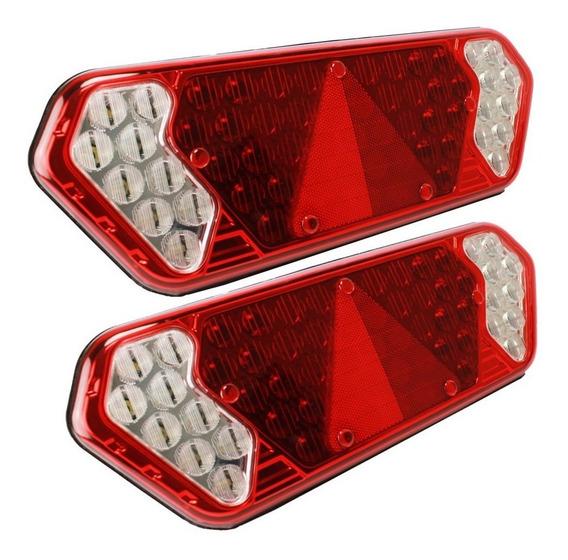 Par Lanterna Traseira Guerra Led Caminhão Carreta 24v 12v