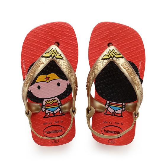 Chinelo Havaiana Baby Herois - Vermelho Mulher Maravilha