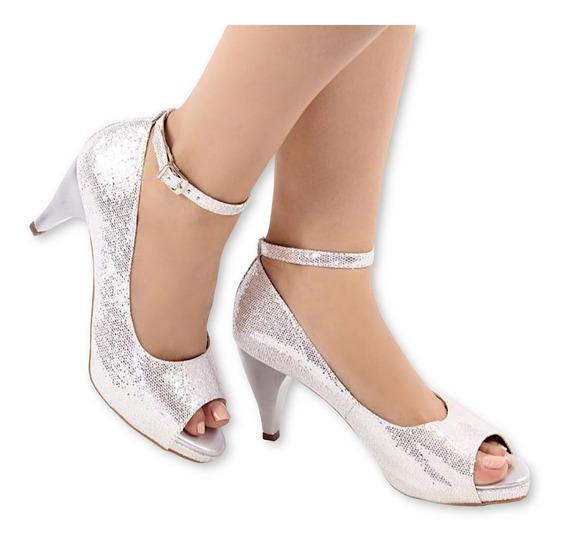 Sandália Meia Pata Glitter Prata Médio Baixo 8cm Noiva + Nf