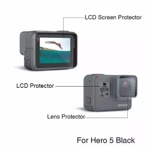 Película Proteção Lente E Tela Lcd Gopro Hero 6 Black