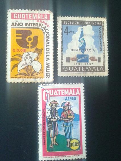 Estampillas De Guatemala. Lote De 3