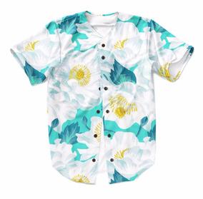 Camiseta Baseball Havaiana Floral Jersey Natureza Basquete