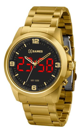 Relógio Masculino Dourado Digital E Analógico X-games Led+nf