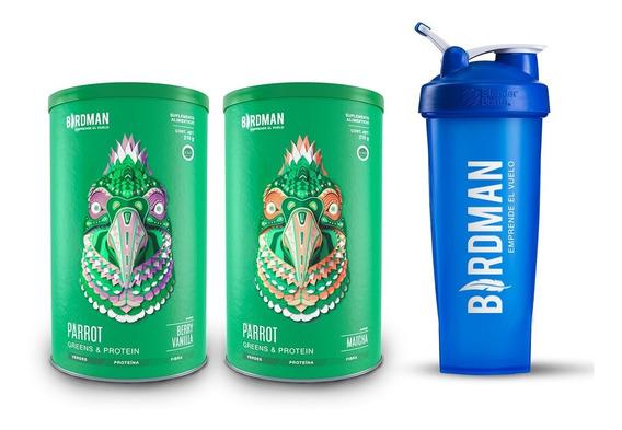 Pack 2 Parrots Greens & Protein 210g + Blenderbottle Birdman