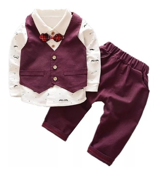 Traje De Vestir Para Niños Pantalon Camisa Chaleco Y Moño