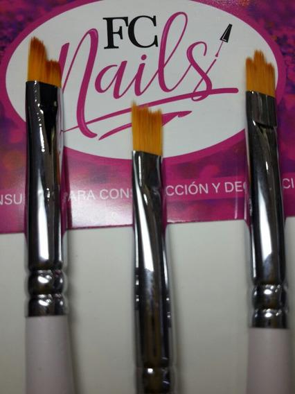 X3 Pinceles Para Degrade Petalos De Flores Uv/gel Diseños