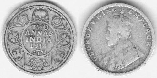 Imagen 1 de 3 de Moneda India 2 Annas Plata, Jorge V (1910-36) L201