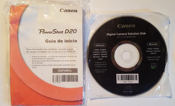 Kit Manual + Cd Canon Powershot D20 Novo Original #