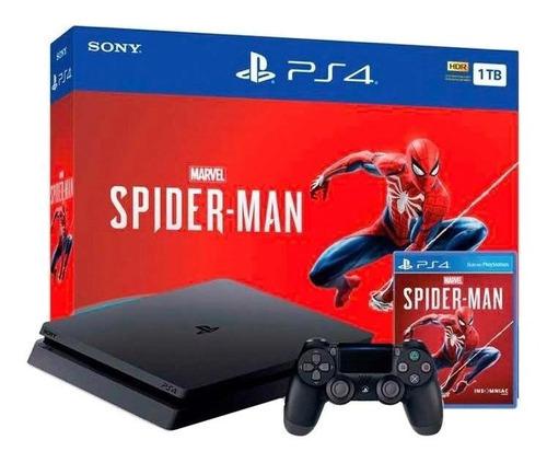 Imagen 1 de 2 de Sony PlayStation 4 Slim 1TB Marvel's Spider-Man Bundle color  negro azabache