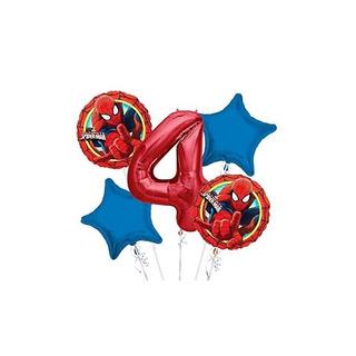 Spiderman Balloon Bouquet 4th Birthday 5 Piezas - Artículos