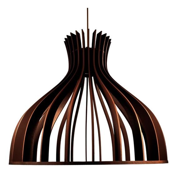 Lustre Luminária Pendente De Madeira C/ Soquete E-27 40x35cm