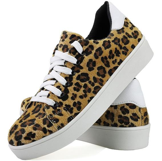 Sapatênis Sapato Casual Feminina Flatform Onça Exclusivo Dhl
