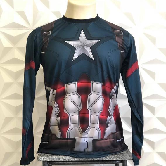 Camiseta Capitão America Guerra Civil Manga Longa C/ Escudo