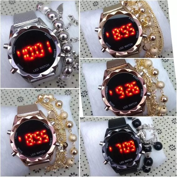 Relógio Feminino Fecho Fivela + Pulseira & Caixa - 05 Und.