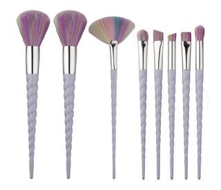 Set 8 Brochas Maquillaje Unicornio Arcoiris Jkmx