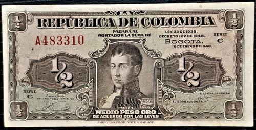 Billete 1/2 Peso Oro 16.01.1948 Vf+ Prefijo A 6 Dig Colombia
