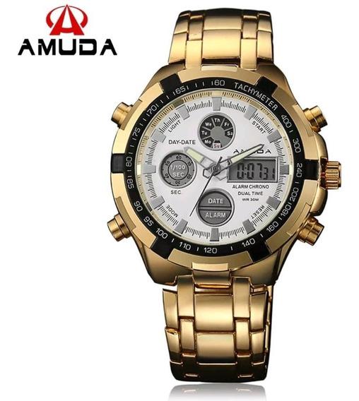 Promoção Relógio Masculino Amuda 2002 Original 30m Dourado